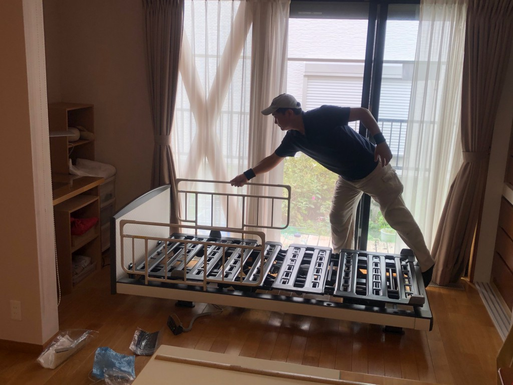 インタイム1000 ベッドサイドレール 納品 電動ベッド 名古屋 瑞穂区