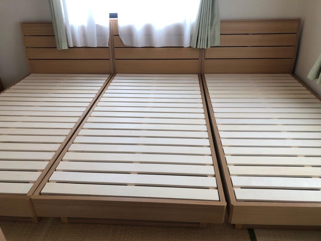 シンプルなタモ材を使用したベッドフレーム。価格もお値打ちです。