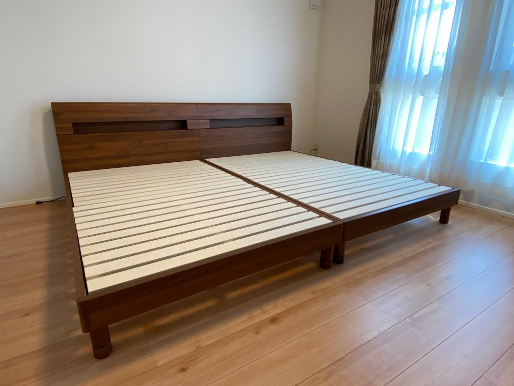 床板すのこで通気性抜群!ヘッドボードにコンセントも付いた使い勝手の良いベッドフレームです。シェララフィア「エルベ」。