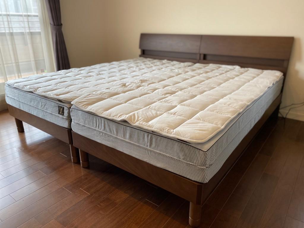シェララフィアのベッドフレーム「デミール」と、FITLABO「オーダーメイドマットレス」+ウールベッドパッドの最高の組み合わせです。